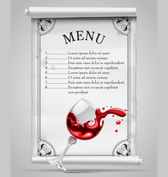 menu template on white parchment sheet with vector image vector image