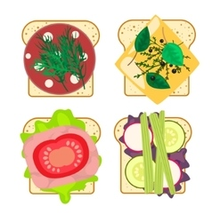 Sandwich set isolated vector image