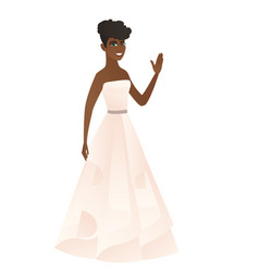 Young african-american bride waving her hand vector