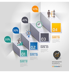 3d business infographic staircase diagram vector image