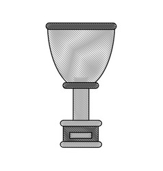 Color blurred stripe of cup trophy with plaque vector