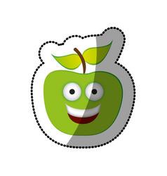 colorful green kawaii fruit apple happy icon vector image