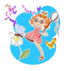 Cute little girl catching butterfly vector image vector image