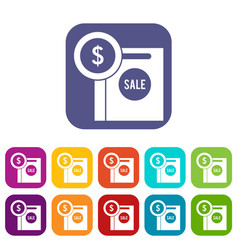 dollar sign and shopping bag for sale icons set vector image vector image
