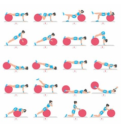 exercises with a ball for Fitness vector image