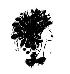 Female portrait black silhouette for your design vector image vector image