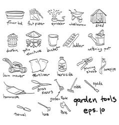 Garden tools doodles vector