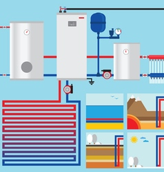 Heat pump in the cottage Vertical collector Horiso vector image vector image
