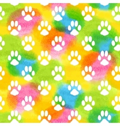 Seamless pattern with watercolor animal footprint vector image vector image