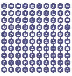 100 philanthropy icons hexagon purple vector