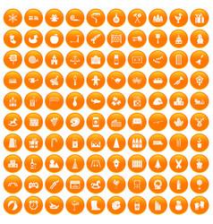 100 preschool education icons set orange vector