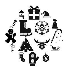 16 christmas black icons set vector image