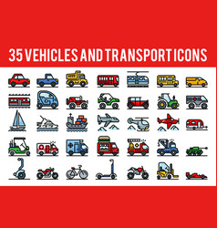 35 vehicle and transport outline color icons sign vector image