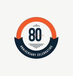 80 th anniversary celebrations retro orange vector