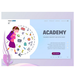 academy for children home page template flat vector image