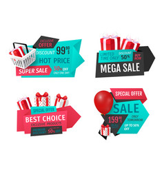advertising labels with promo prices gift boxes vector image