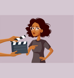 African female actor filming on set vector