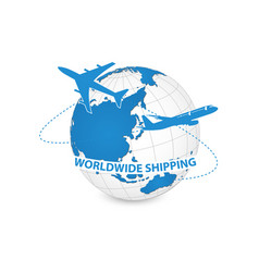 airplane air craft shipping around the world for vector image