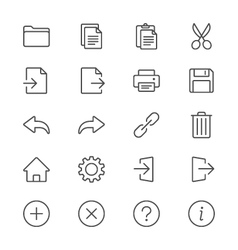 Application toolbar thin icons vector image