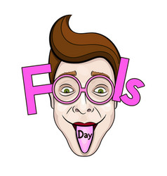 april fools day text and funny glasses eps 10 vector image