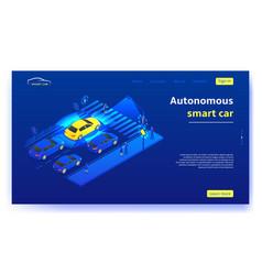 Autonomous smart car concept banner vector