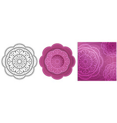 Beautiful flowers mandala with repeated elements vector