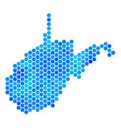 Blue hexagon west virginia state map vector