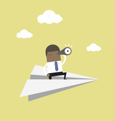 Businessman is flying while using telescope vector