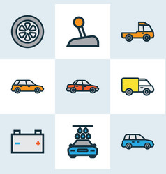 Car icons colored line set with carwash crossover vector