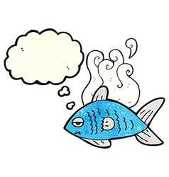 Cartoon funny fish with thought bubble vector