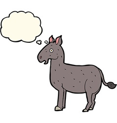 Cartoon mule with thought bubble vector