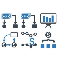 Cashflow Charts Flat Icons vector
