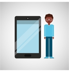 Character man afro with smartphone shiny layer vector