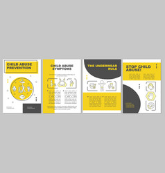 Child abuse prevention yellow brochure template vector