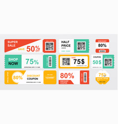 collection coupons offering price reductions vector image