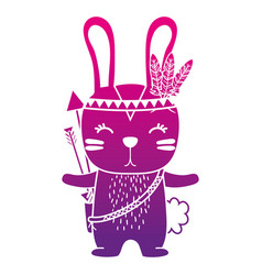 Color silhouette cute rabbit animal with feathers vector