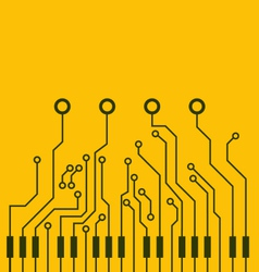 Combined circuit board and piano keys vector