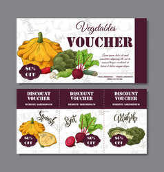 Coupon template with vegetables set of vector