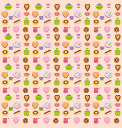 cups and cakes seamless pattern vector image