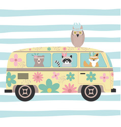 cute animals with feathers hats and hippie van vector image