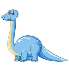 Cute blue dinosaur character vector