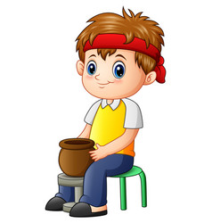 Cute little boy potter makes clay pot vector