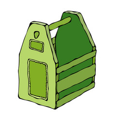 Decorative green wooden box with holes and handle vector