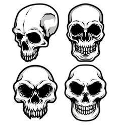 detailed classic skull head black and white vector image