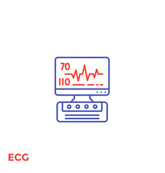 Ecg machine heart diagnostics line icon vector