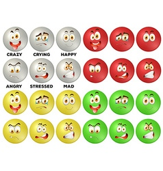 Facial expression on round badges vector