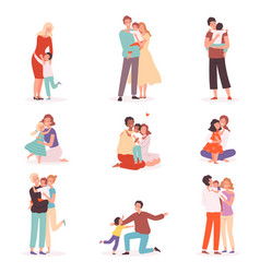 family embrace happy parents hugging smiling kids vector image
