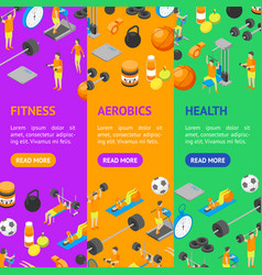 fitness club concept banner vecrtical set 3d vector image