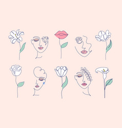 flowers and women faces vector image