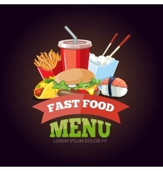 for fast food menu vector image